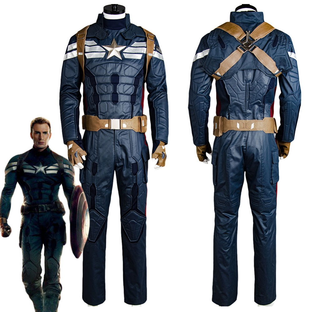 Captain America 2 Cosplay Costume The Winter Soldier Steve Rogers Cosplay Costume Adult Men Uniform Outfit Halloween Costumes