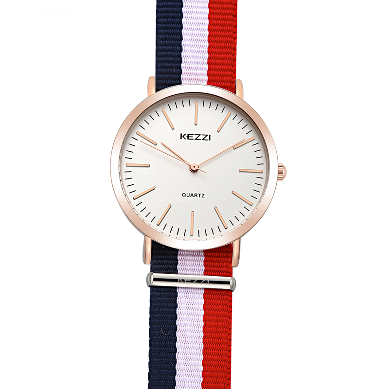 KEZZI Brand Women Nylon Strap Watches Retro Slim Dial Sport Watch Waterproof Ladies Quartz Watch For Men Clock relogio feminino 2017 retro freemason pocket watch sets with free masonic necklace pendant quartz fob watches chain best gifts set for men women