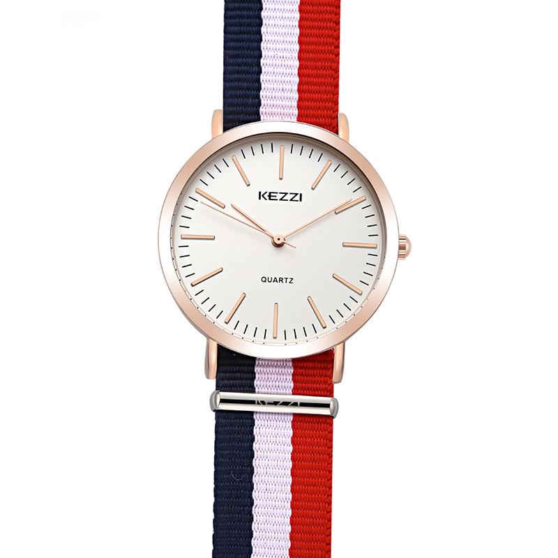 KEZZI Brand Women Nylon Strap Watches Retro Slim Dial Sport Watch Waterproof Ladies Quartz Watch For Men Clock relogio feminino стоимость