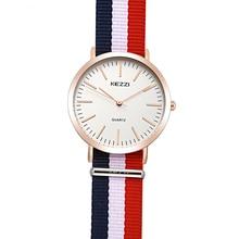 Kezzi marque femmes bracelet en Nylon montres rétro mince cadran Sport montre étanche dames Quartz montre pour hommes horloge relogio feminino