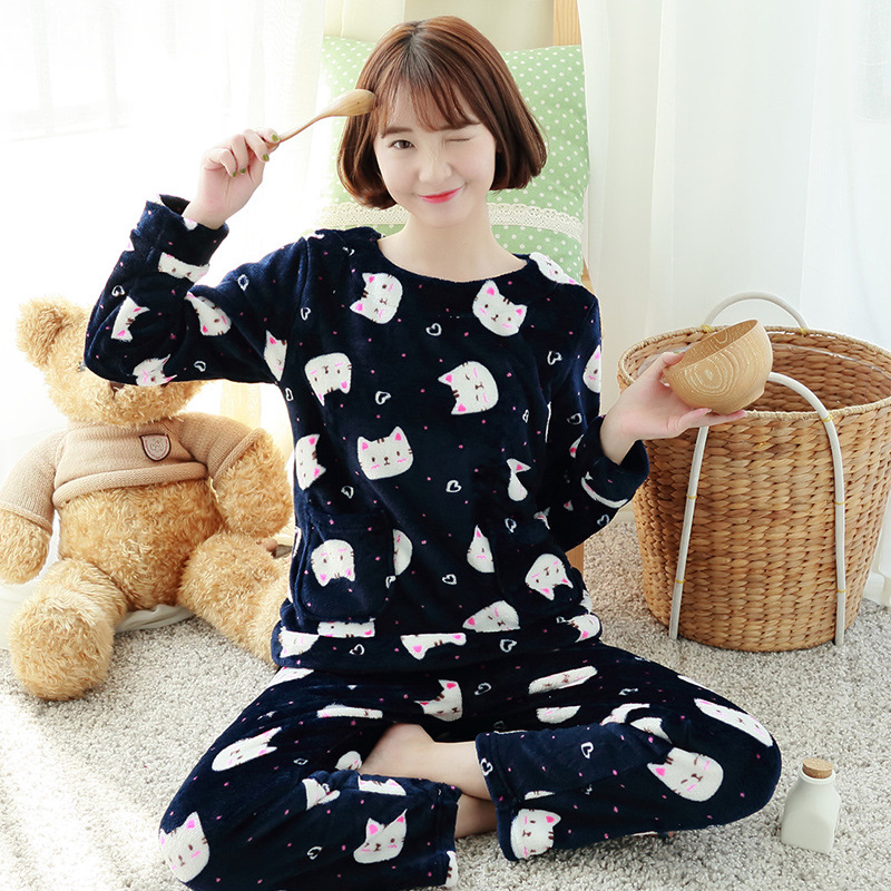 Warm New Winter Women Sleepwear High quality nightgown winter Autumn Women Lovely Cotton Pajamas Set Thick Warm Sleepwear cloth