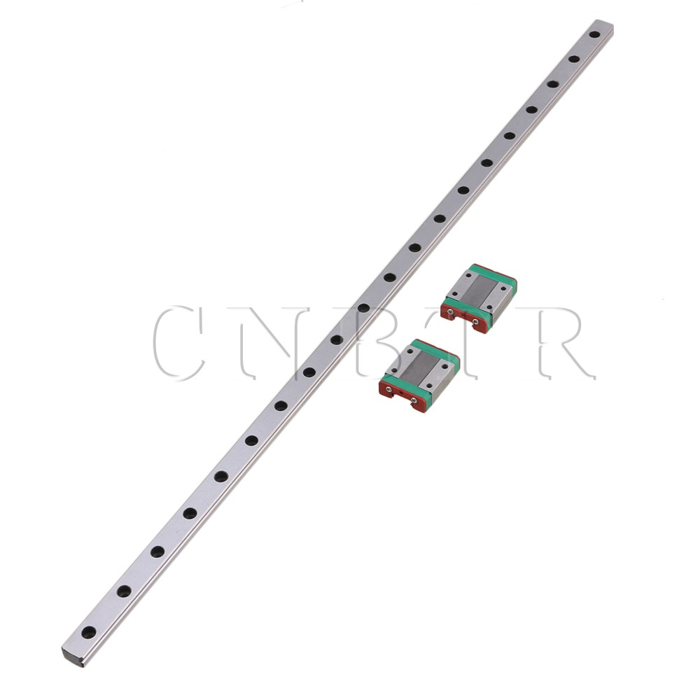 CNBTR 50cm Length Silver MGN12 Bearing Steel Linear Sliding Guide & 2 Linear Bearing Slide Rail Block Set