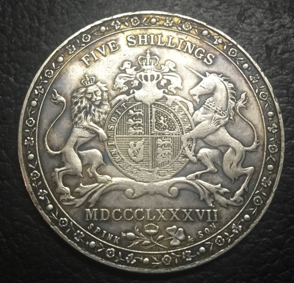 1887 United Kingdom 1 Crown Silver Plated Copy Coin ...