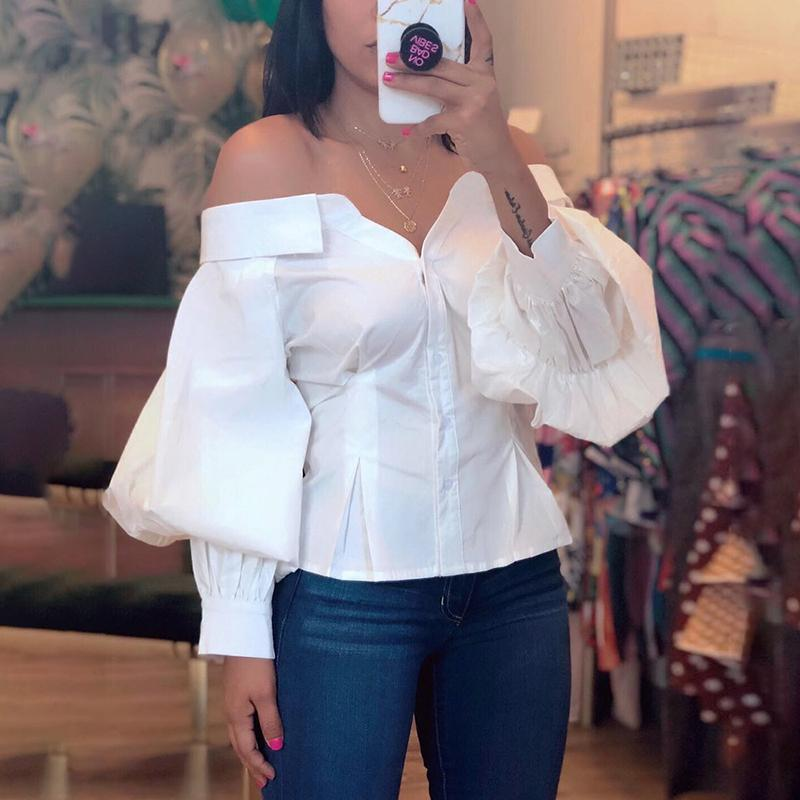 Casual   Shirt   Lantern Sleeve Off Shoulder   Blouse   2019 Women Elegant Fashion White Basic Office Top Brief Ruched blusas
