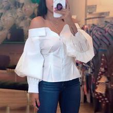 Casual Shirt Lantern Sleeve Off Shoulder Blouse 2019