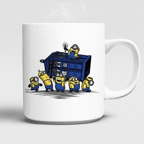Minions mugs Despicable Me mugs Doctor Who mug Dr Who mug Tardis white cups ceramic coffee