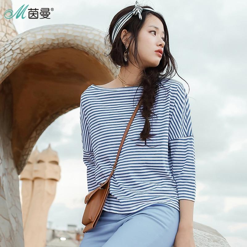 INMAN Spring Clothes One Word Collar Striped   T     Shirt   Women Women