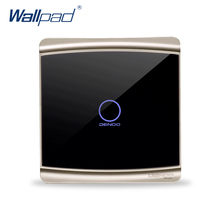 Free Shipping Wallpad Luxury Black Crystal Glass Switch Panel Touch Screen Wall Light Switch Backlight LED 1 Gang 1 Way