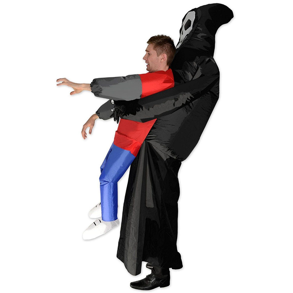 Halloween Skeleton Ghost Inflatable Costume Adult Funny Blow Up Suit Party Fancy Dress Dark Death Catch Me Horror Full Set
