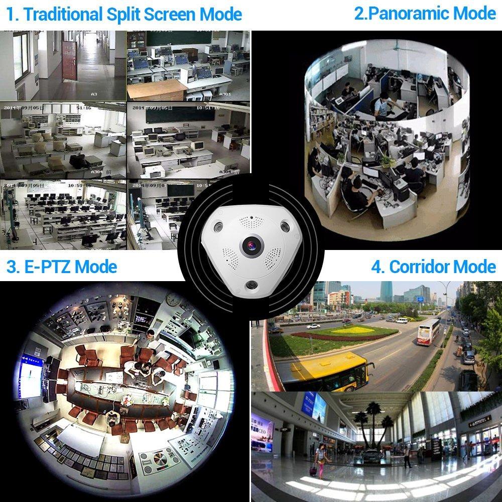 5.0MP 360 градусов камера видеонаблюдения рыбий глаз Беспроводной IP Камера купольная камера с WiFi VR Камера удаленного просмотра бесплатное прил... - 5