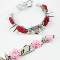 Cosplay 100% Handcrafted Harajuku Lolita Spiked Collar Rose Flower Choker Clear PVC Transparent Punk Sub Necklace