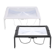 Ultra-thin A4 3X Full Page Large PVC Magnifier Giant Desk Foldable Magnifying Glass with 4 LED Light for Reading Sewing Knitting lacywear gk 4 rel page 4 page 4
