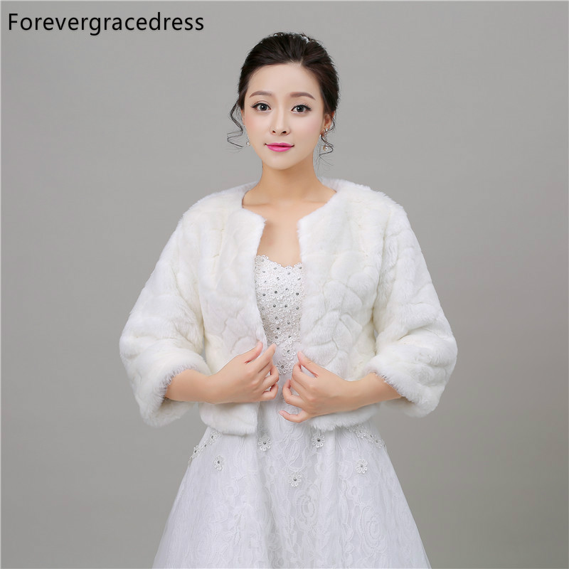 Forevergracedress 2018 New Design Autumn Winter Faux Fur Wedding Wrap Bolero Jackets Bridal Coat Cape Cloak Shawls Scarves