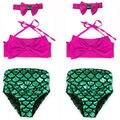 2016 Kids Girls Bikini  Little Mermaid Swimmable Summer Children Swimsuit Swimming Costume Swimwear 2-7Y