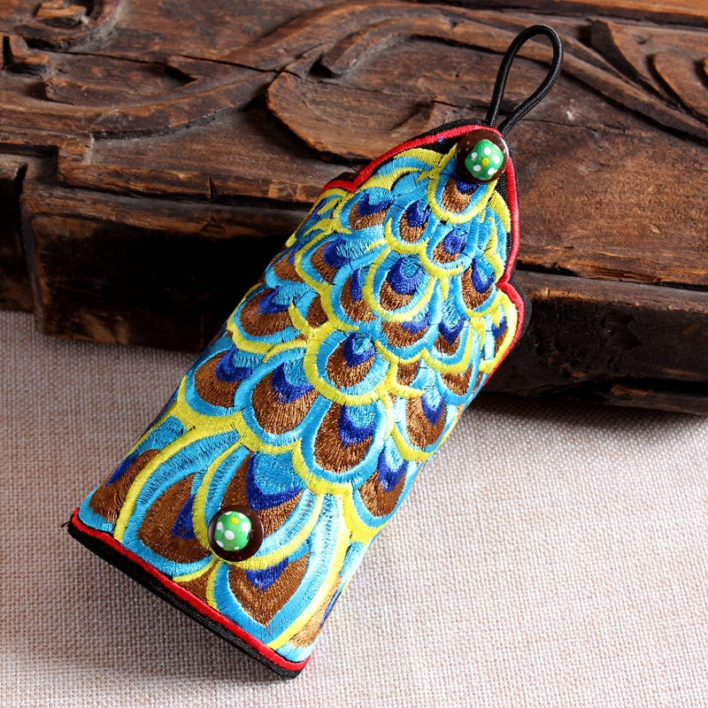 Ethnic Wind Embroidery Peacock Feather Fingerless Gloves Fashion Joker Bracer Bracelet Dance Jewelry For Women 12