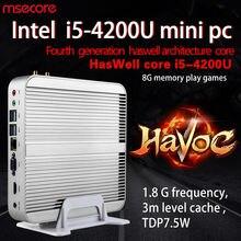 MSECORE Core i5 4200U игровой мини ПК настольный компьютер Windows 10 безвентиляторный linux barebone неттоп HTPC HD4400 4K 300M wifi