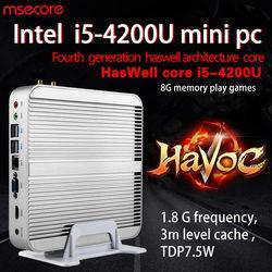 MSECORE Core i5 4200U ألعاب كمبيوتر مكتبي صغير ويندوز 10 بدون مروحة لينكس هيربون Nettop بدون مروحة HTPC HD4400 4K 300M واي فاي