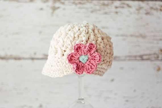 Free Shippingcrochet Childrens Newsboy Hatbaby Photography Prop 100 Cotton Beige And Pink Flowers In Hats Caps From Mother Kids On