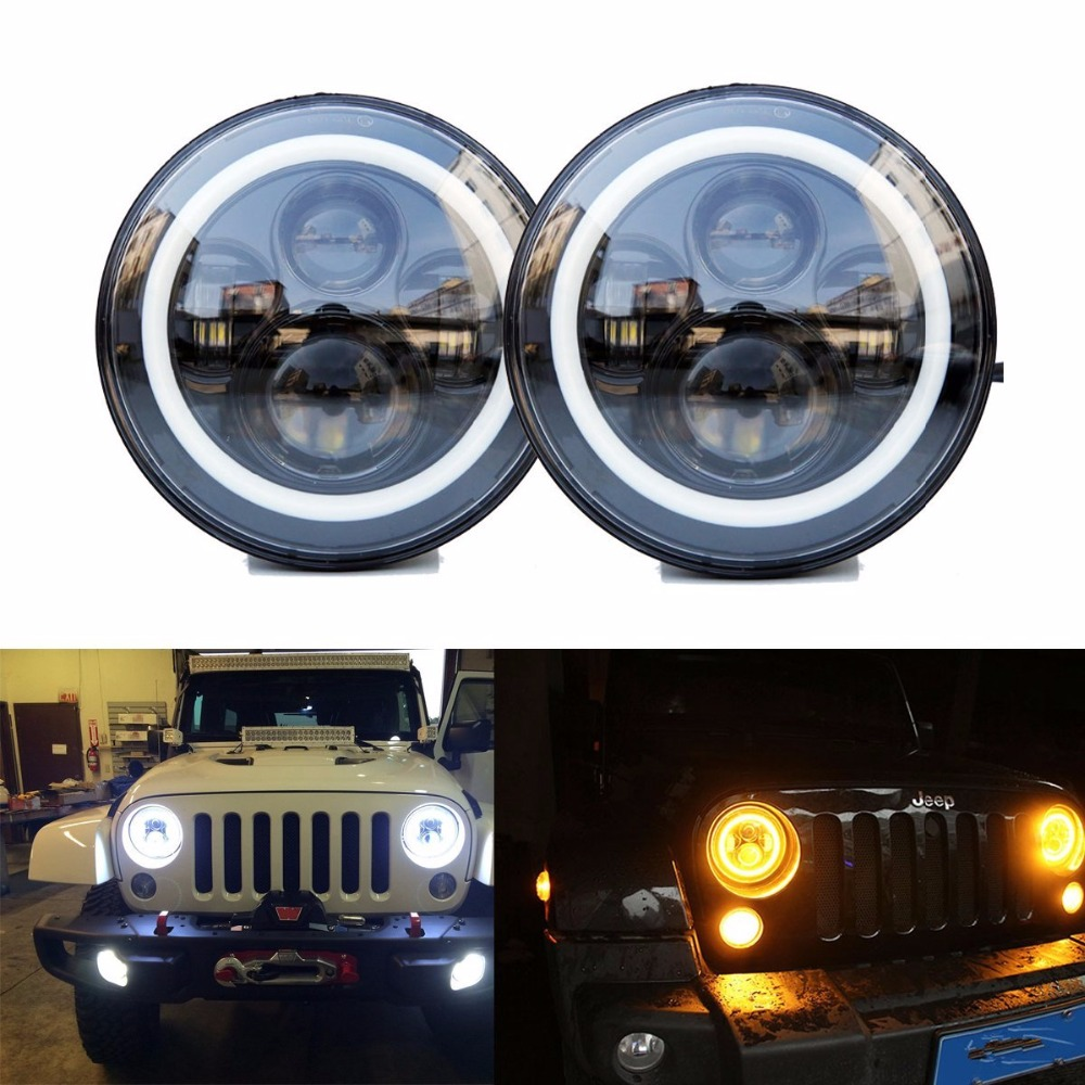 80W 7 Round LED Projector Headlights Amber White Halo Ring Angle Eye DRL / Turn Signal Light For Harley Jee-p Wrangler JK LJ TJ 7 led halo headlights for jeep wrangler jk jku tj lj rubicon sahara unlimited white drl amber turn signal 4 halo fog light