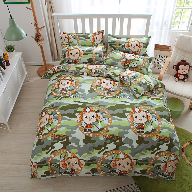 Hot Sale Mokey Animal Cartoon Bedding Bed Sets Queen King Twin 4 5pc Bedroom Decor