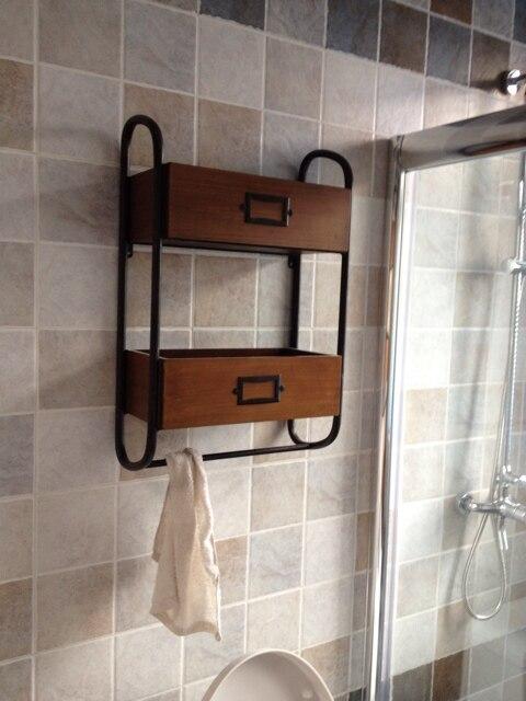 American Country Wrought Iron Shelf Vintage Wood Bathroom Wall Rack Two Storage Towel