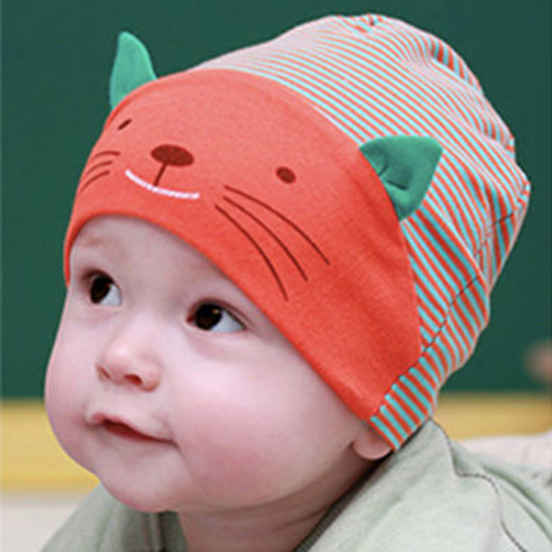 Winter Warm Season High Quality Cotton Baby Toddler Beanie Hat Cute Cat Face Cap