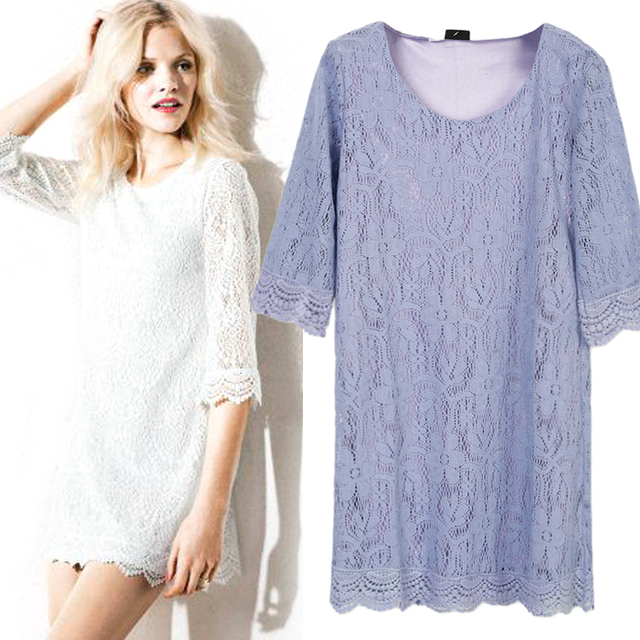 2013 spring and summer loose three quarter sleeve o-neck sweet all-match eyelash lace crochet inner lining one-piece dress