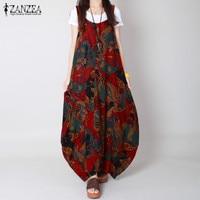 ZANZEA Boho Print Dress 2017 Summer Women Vintage O Neck Sleeveless Long Maxi Dresses Casaul Loose