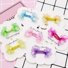 1 pair Little Girls Kids Cute Acrylic Candy Shape Glitter Elastic Hair Bands 7 Colors Sweet Cartoon Rubber Ties