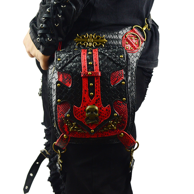 Punk Skull  Waist Bags Men Vintage Motorcycle Leg Bag Red Black Leather Rivets Messenger Bag Vintage Fashion Rock Women bags