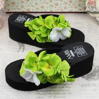 Fashion Creative DIY Hand Stitched Green Flowers Rhinestones Beach By The Sea Vacation Thick Soles Leisure