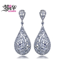 DC1989 Hot Deluxe Wedding Drop Shape Platinum Plated Pieces Cubic Zirconia Brass Lead Free Drop Earrings
