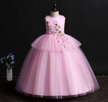 0570ae050 4-14 años Europeo Americano ropa para niños/niñas Vestido largo de  encaje/manga de pétalo para ...