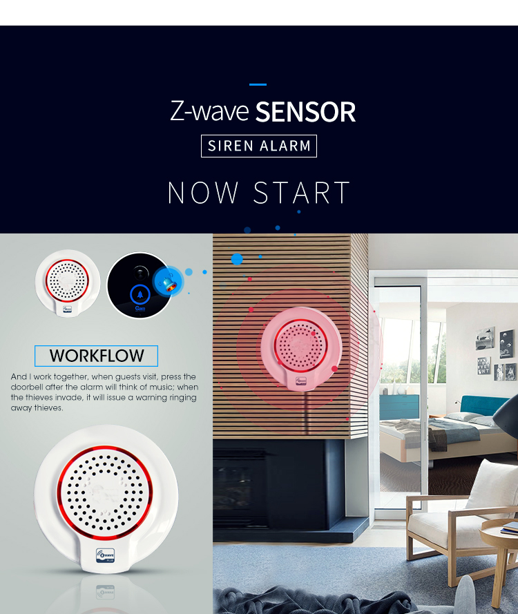 SmartYIBA Z-wave 868MHz Wireless Flash Siren Alarm Sensor Compatible with Z wave Plus Sensor Alarm Home Automation Alarm цена