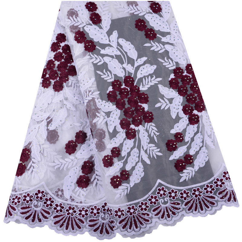 Latest Wine Red French Nigerian Laces Fabrics High Quality Tulle African Laces Fabric Wedding African French