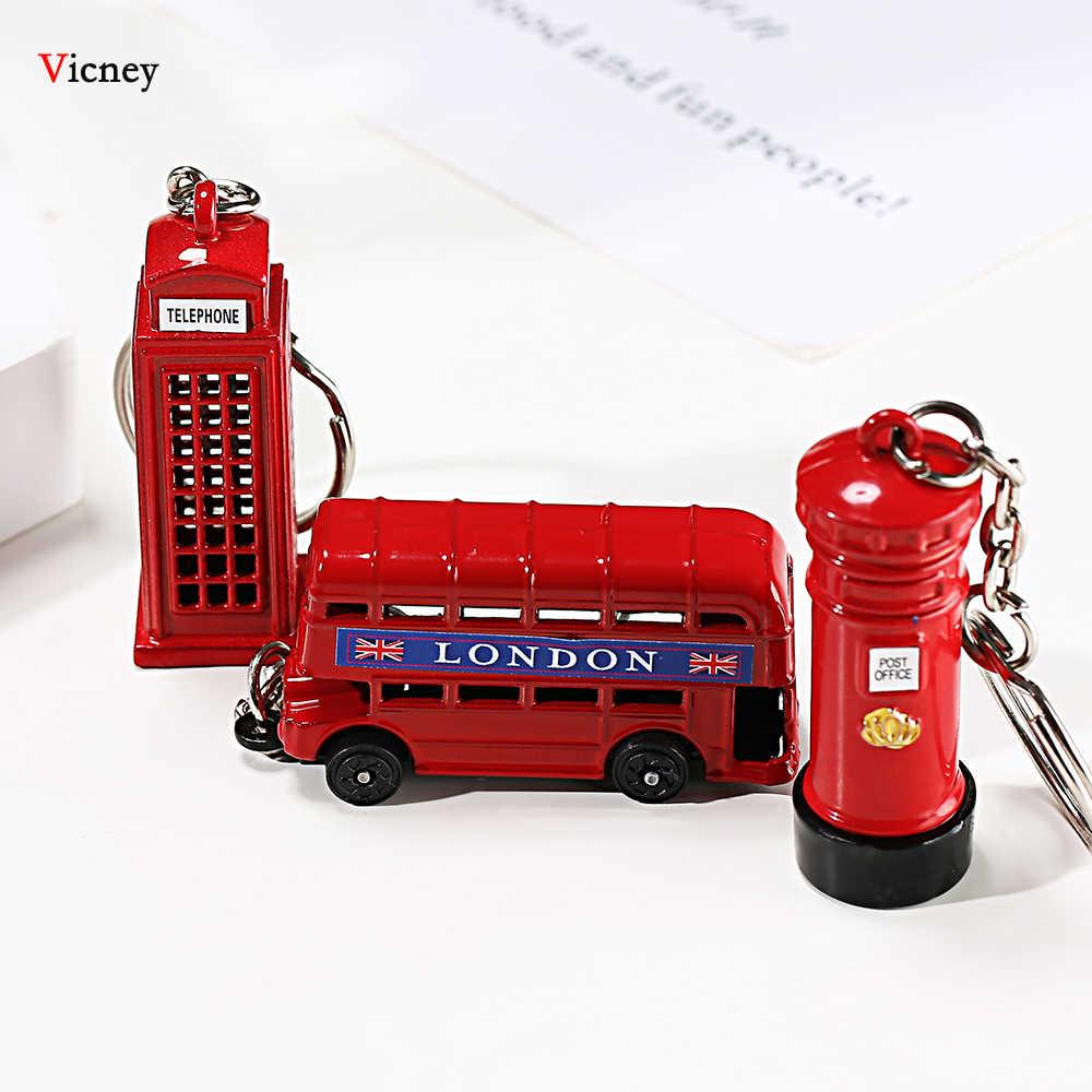 Londres Ônibus Vermelho & Azul organizador Chave Titular Chave Chaveiro Pingente de Chave Caixa De Correio Presentes Da Lembrança Para Homens chaveiro anel chave chaveiro