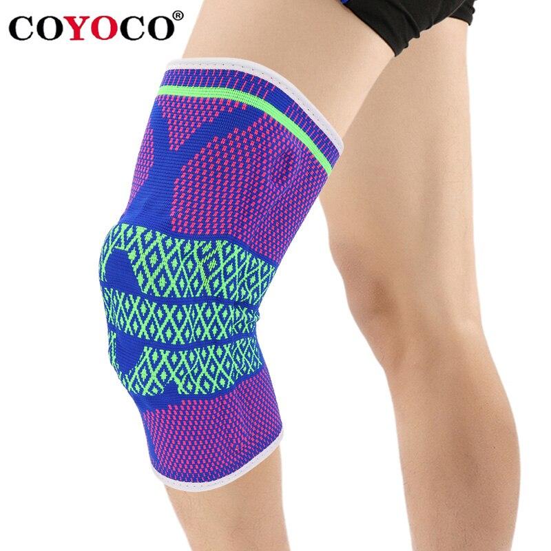 COYOCO Silicon Pad Frühling Unterstützung Knie Brace 1 stücke Bein Arthritis Verletzungen Knie Pad Warm Blaue Rose Grün Muster Meniskus kneepad