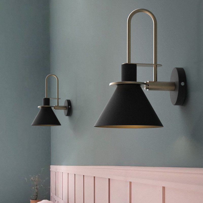 Moderne simple Nordique salon escalier allée chambre lampe de chevet E27 mur lumière Macaron corne mur lampe Noir Vert Blanc Couleur