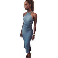 Womens Dresses New Arrival 2018 Bandage Sleeveless Backless Dress Sexy Clubwear Dresses Maxi Long Party Women