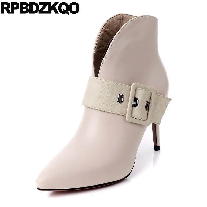 Booties Autumn Beige Designer Shoes Women Luxury 2017 Female Pointy Short Genuine Leather Boots Belts High Heel Stiletto Ankle
