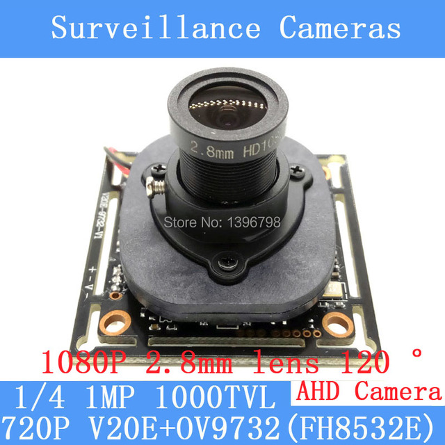 720P AHD 4in1 camera module 1.0MP 1000TVL night vision wide angle 120 degrees 1080P 2.8mm lens surveillance cameras