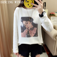 Autumn Fashion Casual Women Tshirt Personality Character Printed Long Sleeve O Neck Tops Shirt White