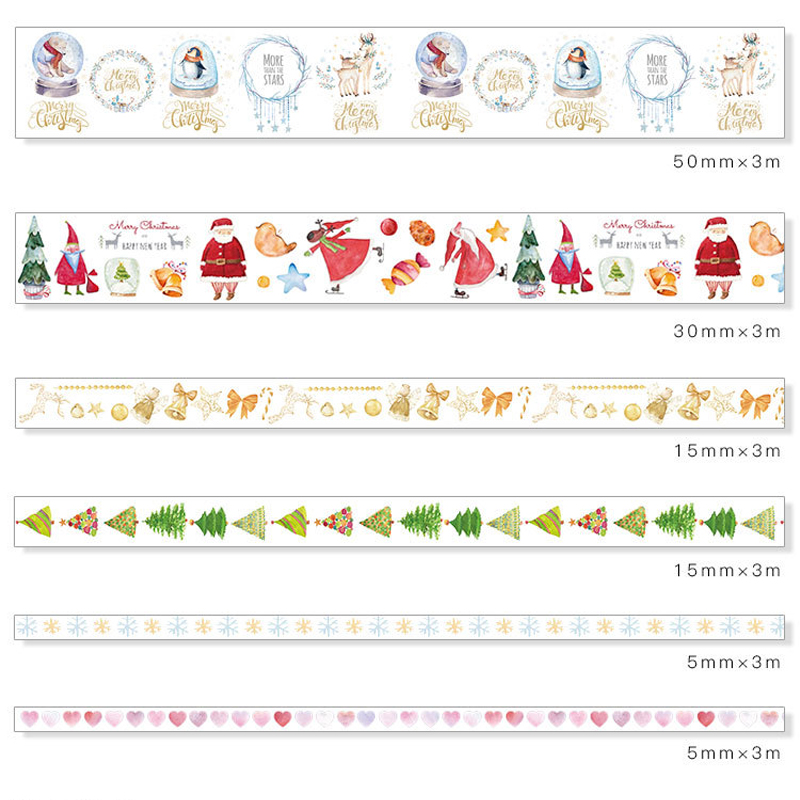 Fromthenon Colorful Christmas Washi Paper Tape Set 6 Rolls Diary Notebook Decorative Stickers Tape Creative School Stationery jianwu 15mmx7m creative fresh time washi tape shaft week plan and notebook diy decorative paper tape stickers office stationery