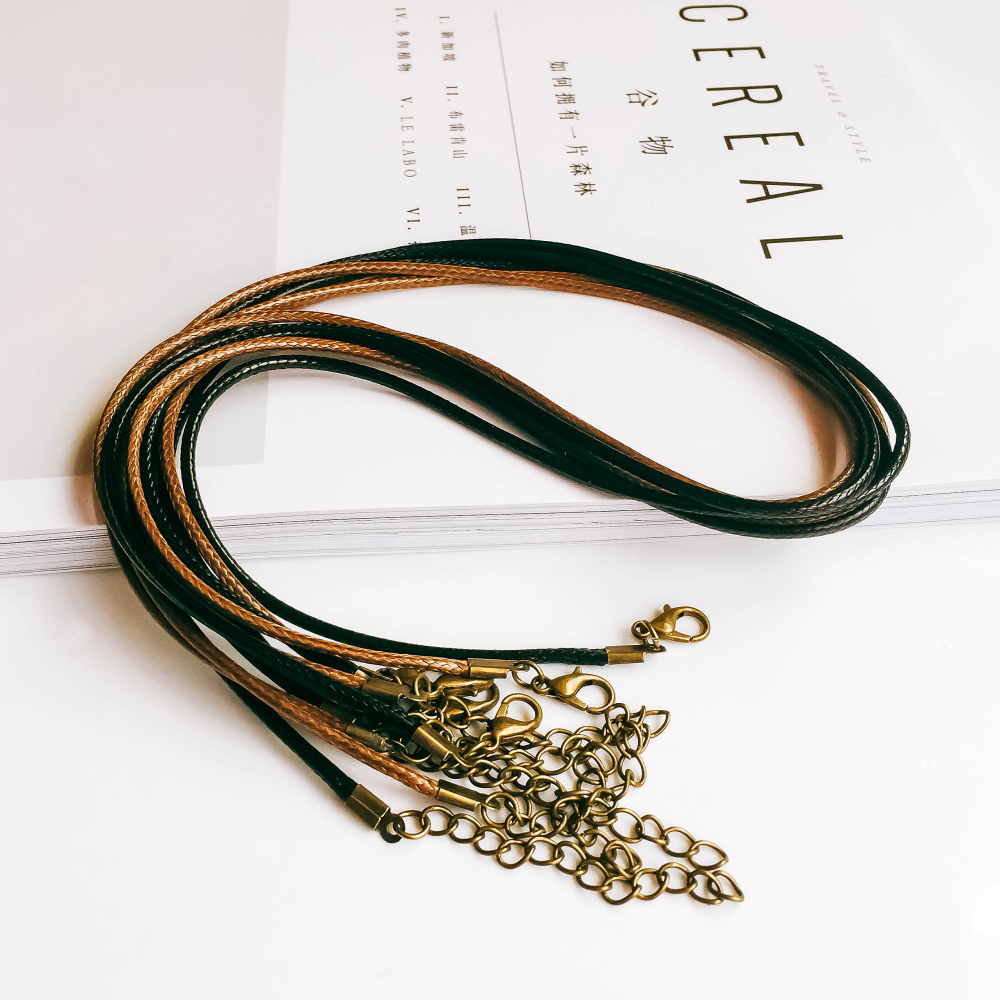 Handmade Adjustable Black Bronze Leather Cord Lobster Clasp Chain Pendant Necklace Charms For Jewelry Finding 20pcs/lot 50cm
