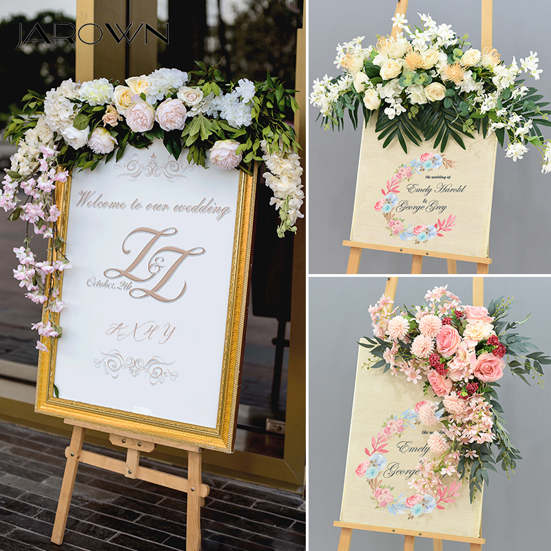 JAROWN Wedding Flower Row Welcome Sign Simulation Floral Hotel Creative Guide Decorations Photography Props Home Door Flower