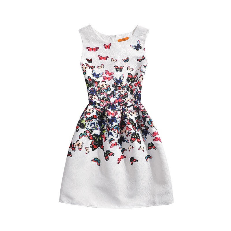 New Arrival European and american style kid baby girl clothes print butterfly A-Line Sleeveless For party holiday stock 2014 new fashion fall european american style flower butterfly print sundress baby