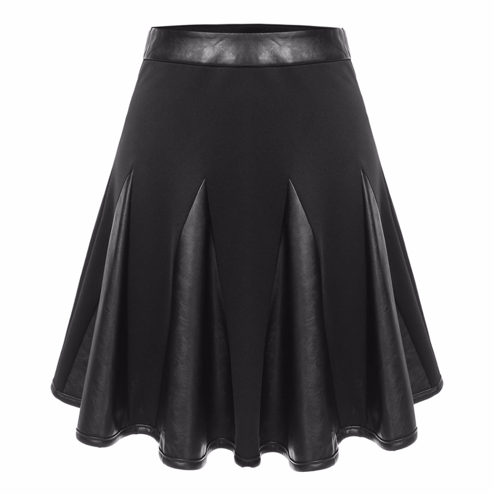 Casual Sexy Summer Faux Leather Lolita Tutu Pleat Mini Women Sun Skirts Female Lady Fluffy Skater Black Preppy Dolly Kilt 2016