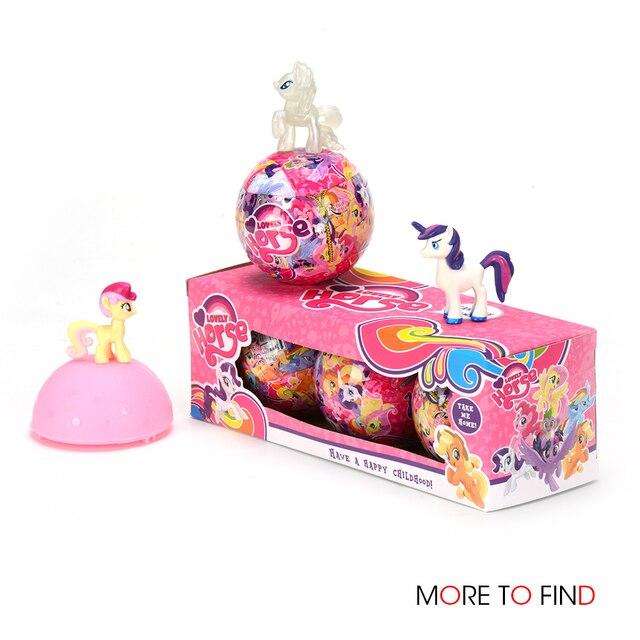 1/3/6 pcs Bonecas Para LOL Rainbow Unicorn Para Surpresa Dos Desenhos Animados Cavalo Pequeno Animal Bola Figura de Ação anime brinquedo de Presente de Aniversário Da Menina