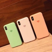 Cute Love Heart Case 3D Silicon Cover For iPhone XR XS Max X 6 6S 7 8 Plus Phone Cases Good Feeling Milk Pink Green Capas(China)