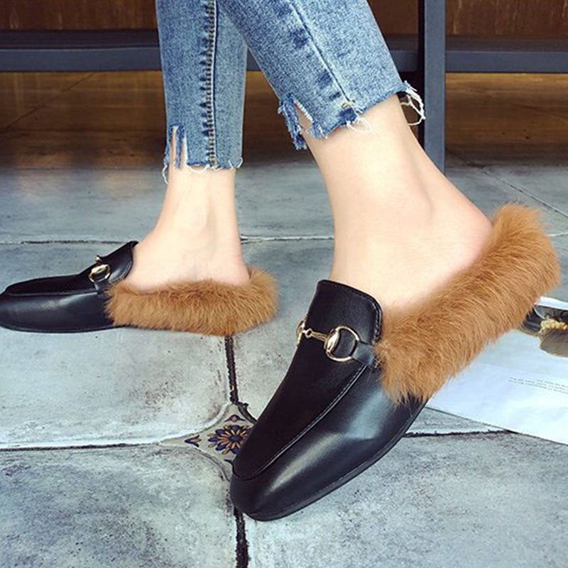 Bailehou Brand Slip On Women <font><b>Shoes</b></font> Fur <font><b>Mules</b></font> Flat Slippers Female Slides Ladies High Quality Woman <font><b>Shoes</b></font> Lady Outside Slippers
